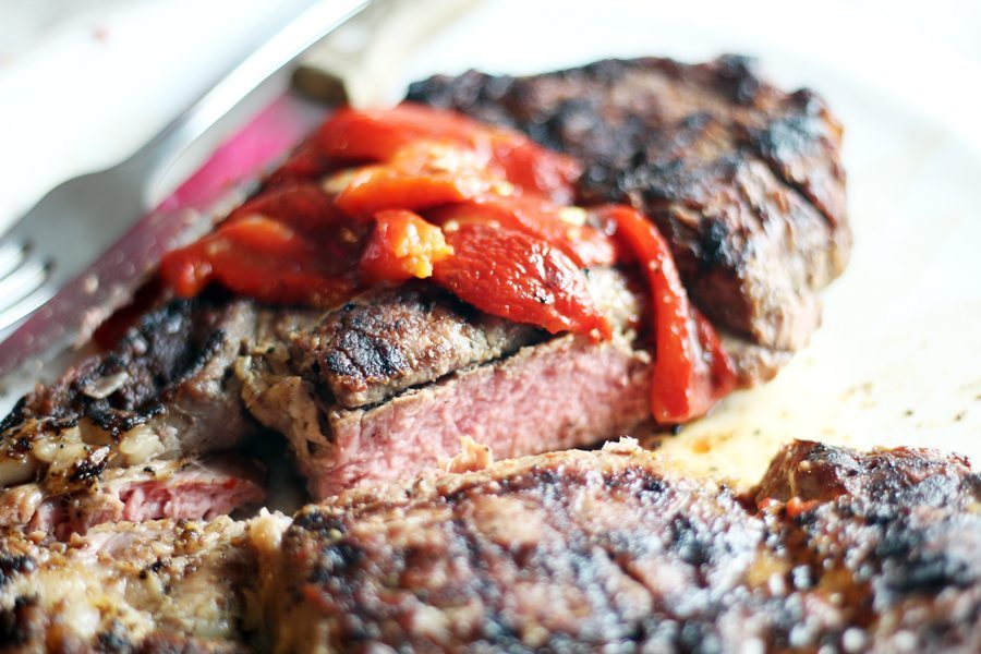 Marinated Roasted Red Peppers + Sweetheart Ribeye
