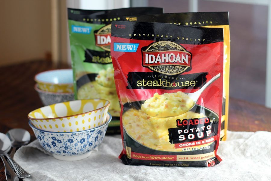 Idahoan Soup next to patterned bowls, part of our Fresh Lettuce Wraps post.