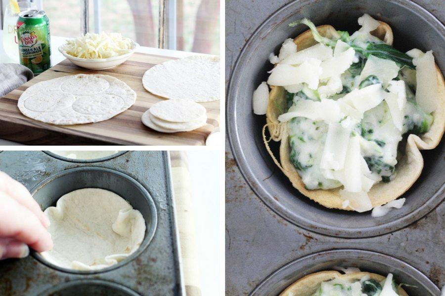 Tortilla shells being prepared and assembled for artichoke dip tortilla cups recipe
