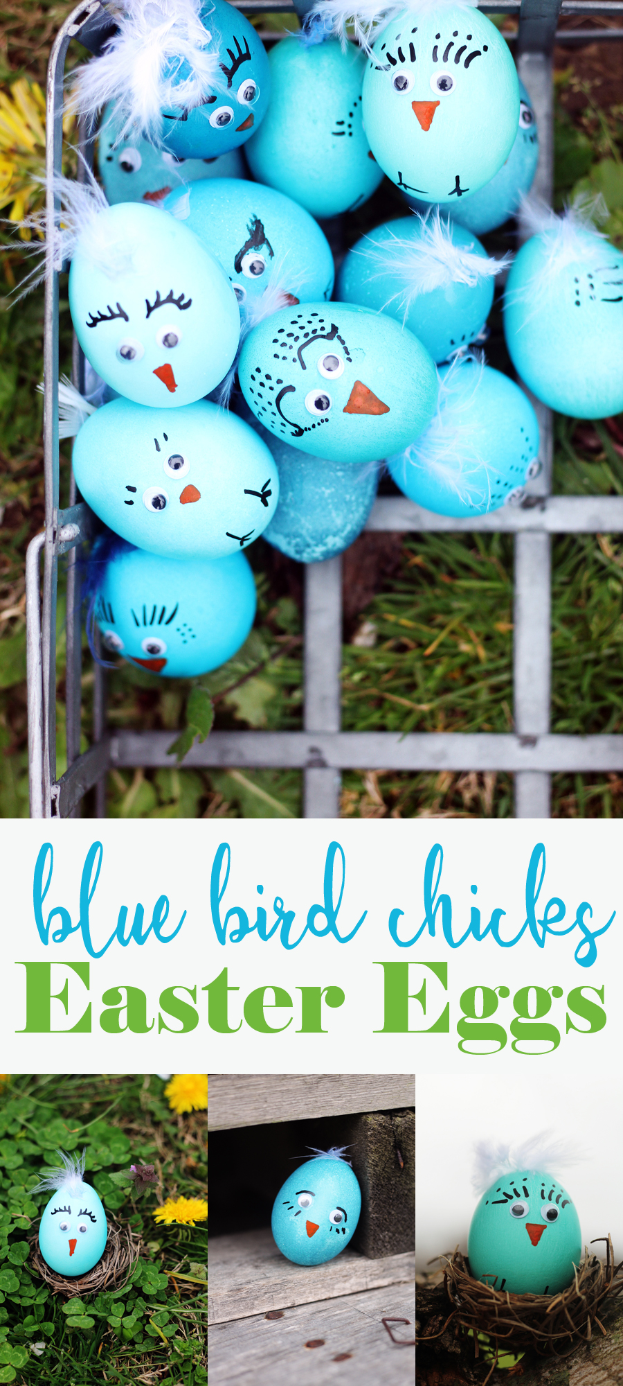 I am in LOVE with these adorable little Blue Bird Easter Egg Chicks. My daughter + I had so much fun decorating these eggs with googly eyes, feathers and more.