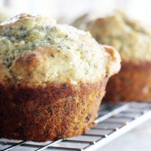 Light lemon chia seed muffins with a vanilla lemon glaze.