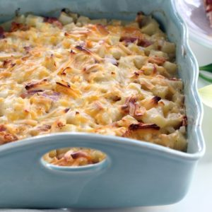 A perfect cheesy side dish to serve this Easter: Smoked Gouda + Cheddar Potato Ham Casserole.