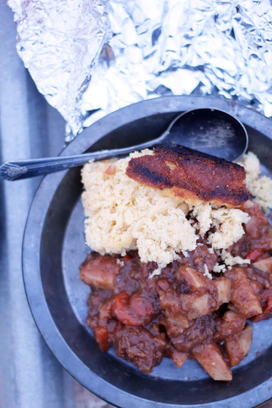 Campfire Skillet Cornbread and Beef Stew