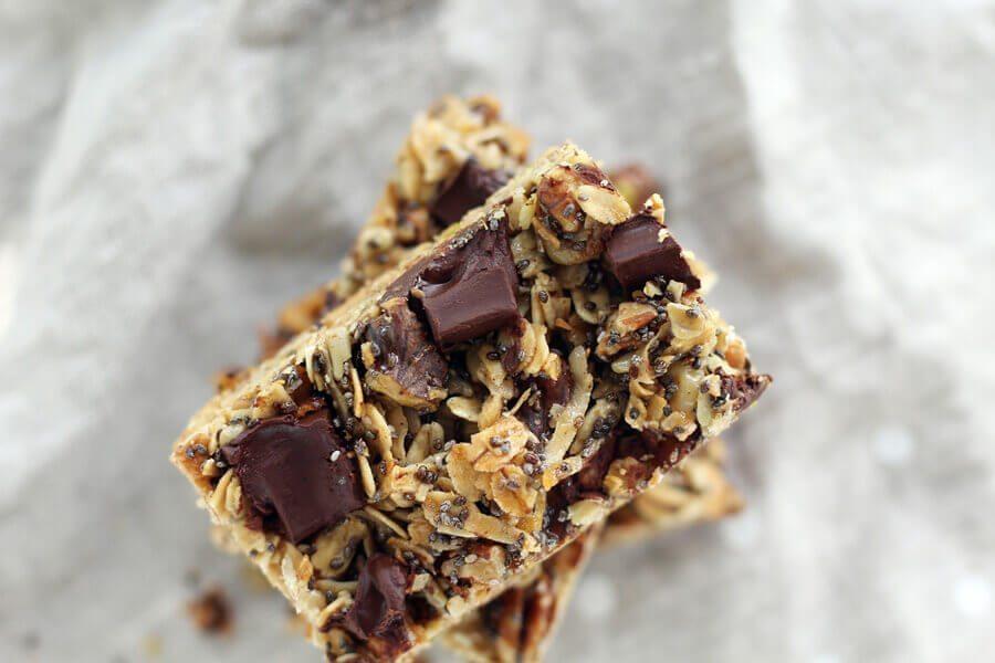 An overhead shot of a homemade granola bar