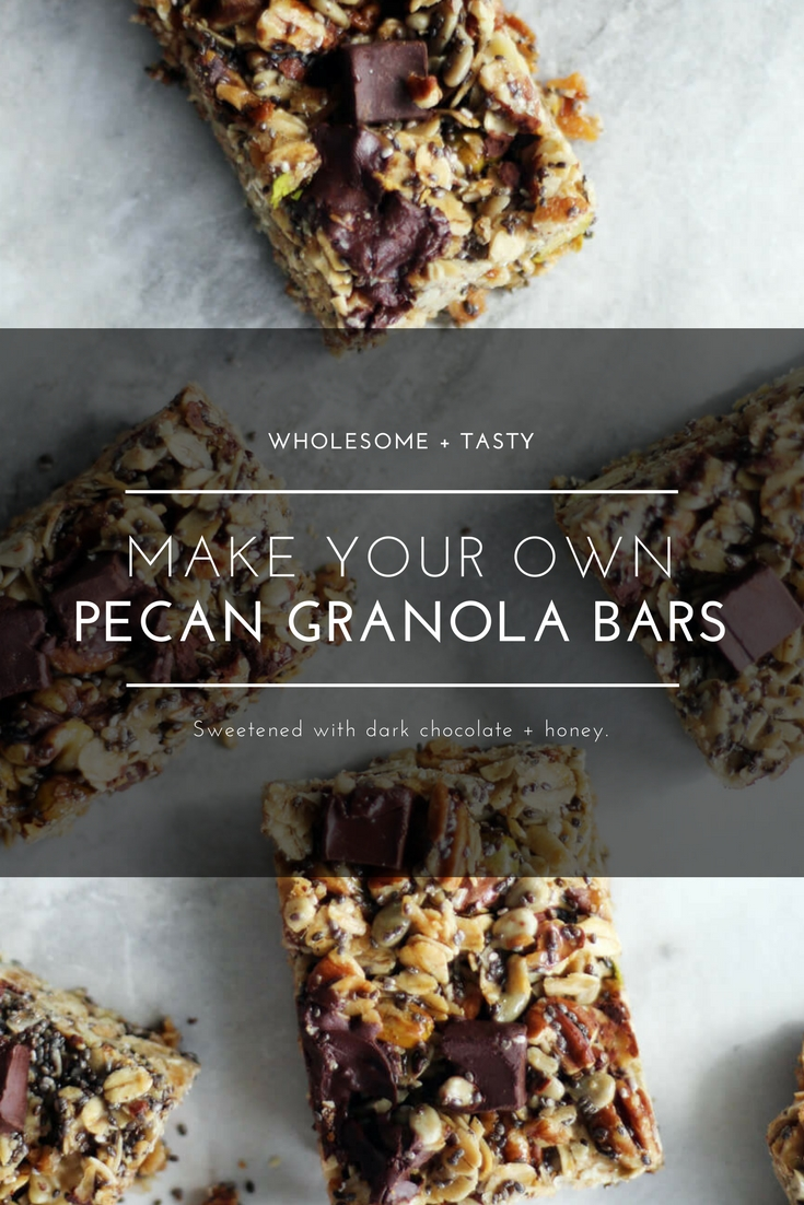 Lightly sweetened with honey and dark chocolate, you are going to love our recipe for Homemade Pecan Granola Bars. Loaded with toasted pecans, sunflower seeds, pistachios and more. #granolabars