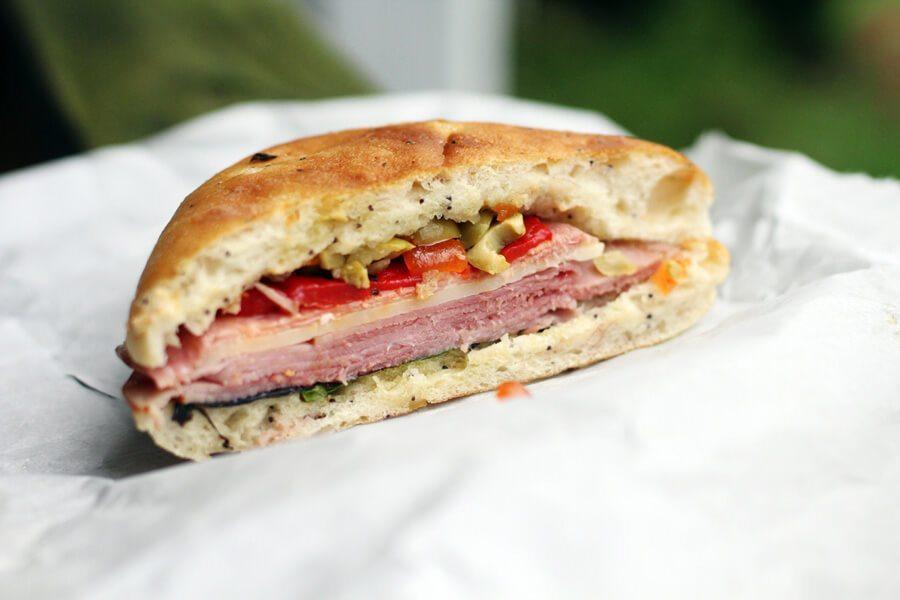 Italian sandwich cut in half