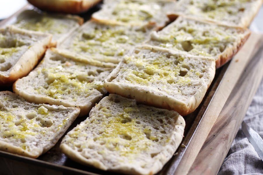 ciabatta bread brushed with extra virgin olive oil