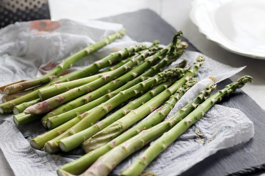 Fresh asparagus on a towel