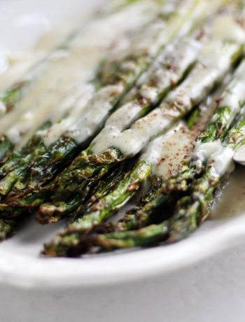 Roasted Asparagus with White Cheddar Cheese Sauce