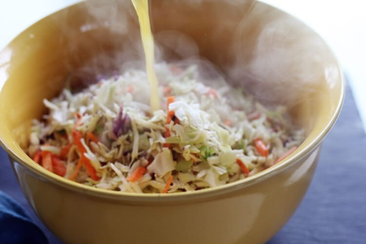 Southern Style Slaw Burgers start with a sweet and tangy vinegar cabbage slaw.