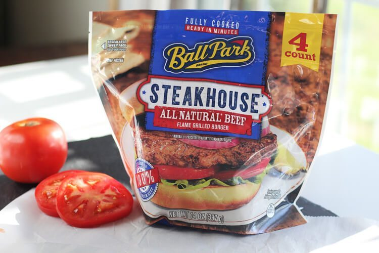 A package of Ball Park pre cooked beef patties