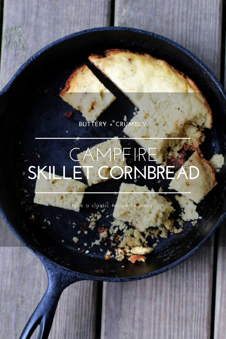 Is it just me or does all food taste better when prepared and enjoyed in the great outdoors? Our easy recipe for Campfire Skillet Cornbread is no exception. Made from just a few ingredients, this scratch-made skillet cornbread is cooked in a cast iron skillet over campfire coals.    #skilletcornbread #campingrecipe #campfirecornbread