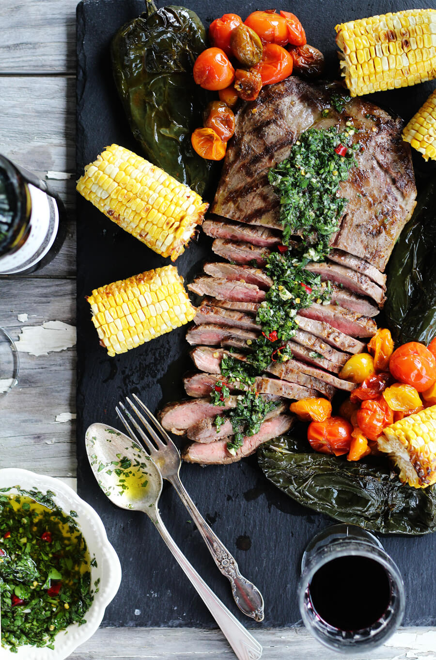 Marinated Flank Steak Asado, Chimichurri Sauce and Roasted Vegetables