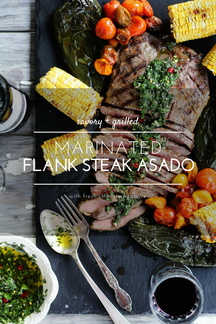 I call this a beautiful meal. Inspired by Argentinian cuisine,this juicy and tender marinated flank steak is served with our homemade chimichurri sauce. This recipe is perfect with roasted poblanos, heirloom tomatoes and sweet corn.