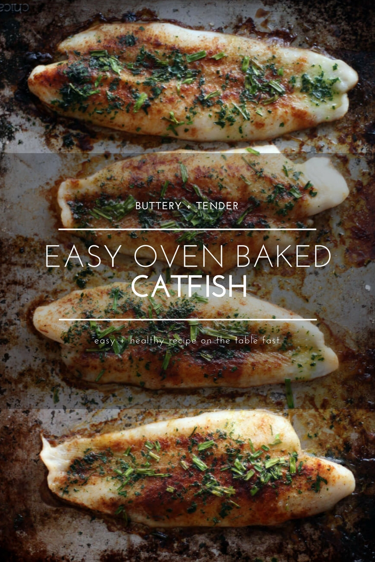 Dig your fork into this simply seasoned recipe for Oven Baked Catfish. On the table in less than 30 minutes, this buttery fish recipe is easy and delicious.  #bakedcatfish