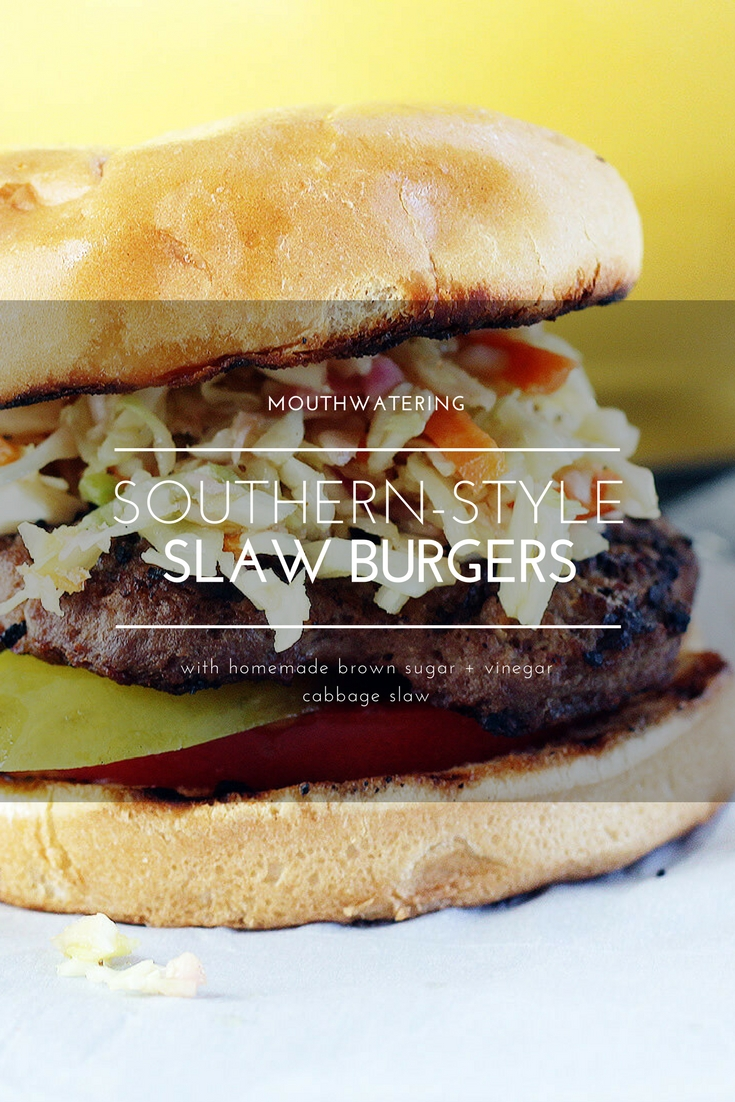 You have got to wrap your hands around a juicy grilled hamburger topped with tangy brown sugar + vinegar cabbage slaw. If you have never had Southern-Style Slaw Burgers, try our easy at-home recipe. #slawburger