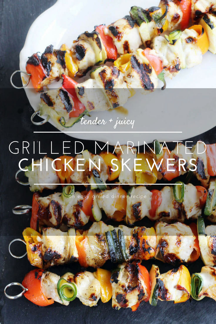 You are going to love this easy recipe for grilled Marinated Chicken Skewers with fresh veggies. Pair wholesome chicken with your favorite colorful vegetables for a wonderful dinner idea.  #chickenskewers