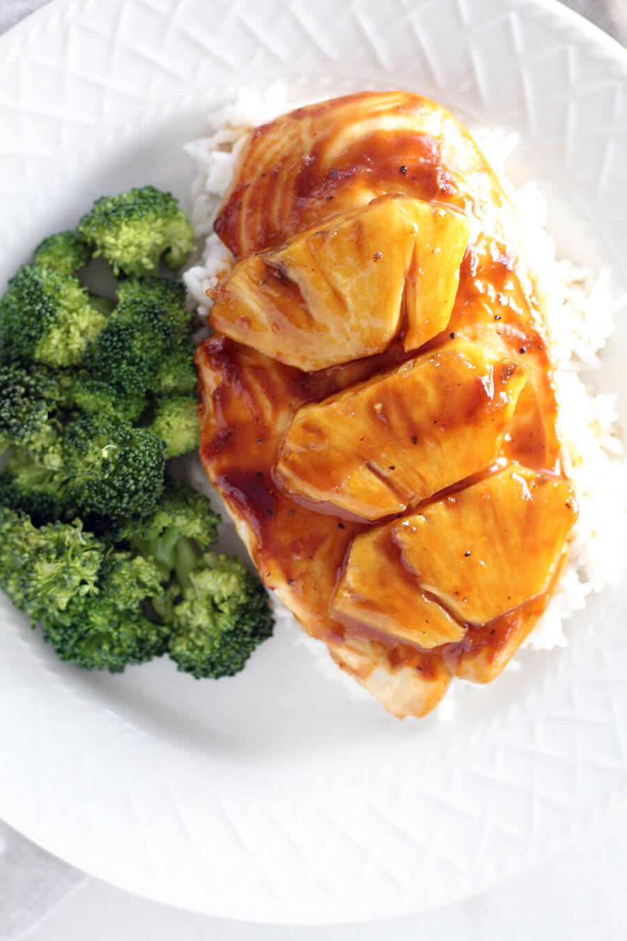 Pineapple Chicken with rice and broccoli.