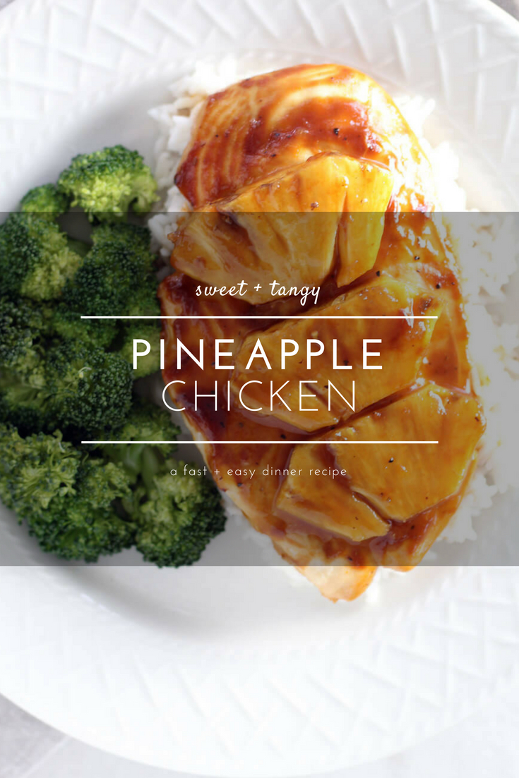 Pineapple Chicken features a sweet + savory sauce that is the perfect balance of flavor. Tender, delicious and easy.  Made with only 5 ingredients, this keeper recipe will be a family fave. #pineapplechicken #bakedchicken