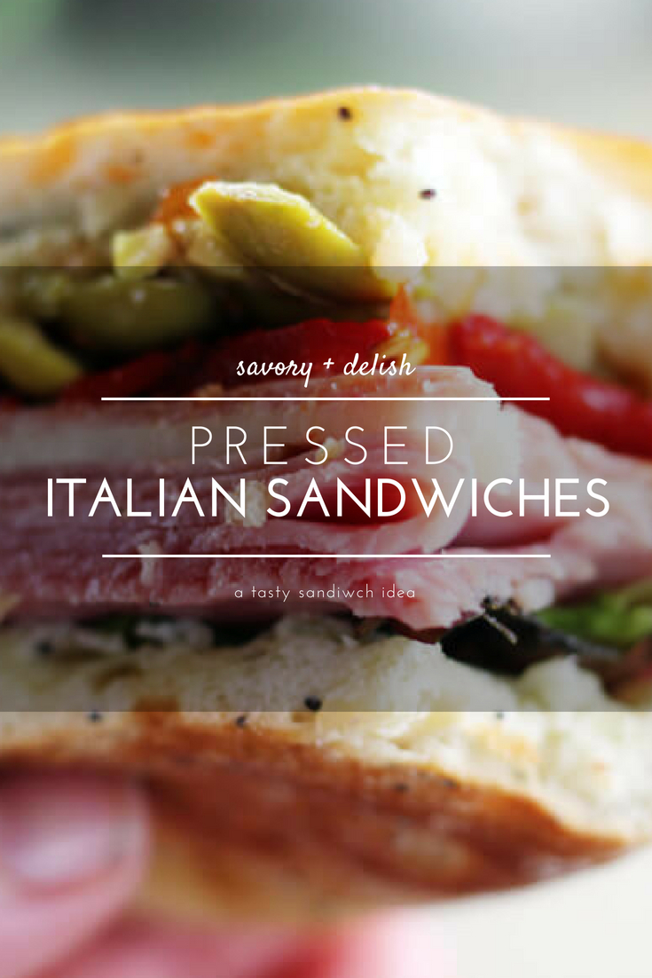 If you are looking for a delicious make-ahead lunch idea that is perfect for work, picnics or a fast + easy meal, these Pressed Italian Sandwiches are for you. Made on toasted ciabatta bread with layers of thinly sliced deli meats and cheese, these tasty little sammies are delish.  #Italiansandwiches #picnicsandwich