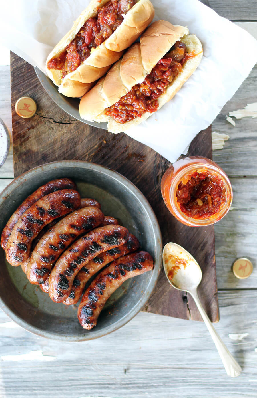 Roasted Tomato Jam + Grilled Beer Bratwurst