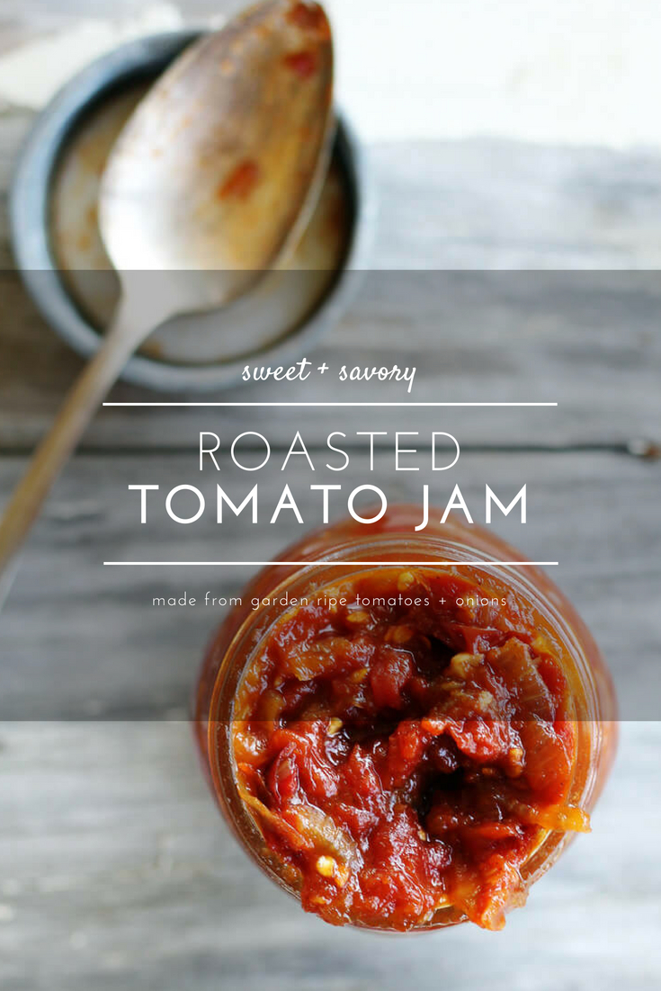 Sweet + savory with a kick of spice, with roasted ripe tomatoes and caramelized onions, this Roasted Tomato Jam is a tasty topping to serve with all your summer meals. #tomatojam