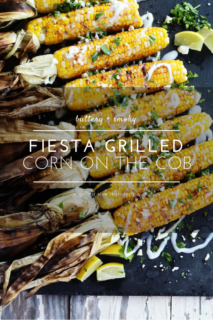 Sink your teeth into Fiesta Grilled Corn on the Cob. This flavorful Mexican-inspired corn recipe is smoky, buttery, with bright pops of flavor from lime, cotija and cilantro.  #grilledcornonthecob #cornrecipe #cornonthecob