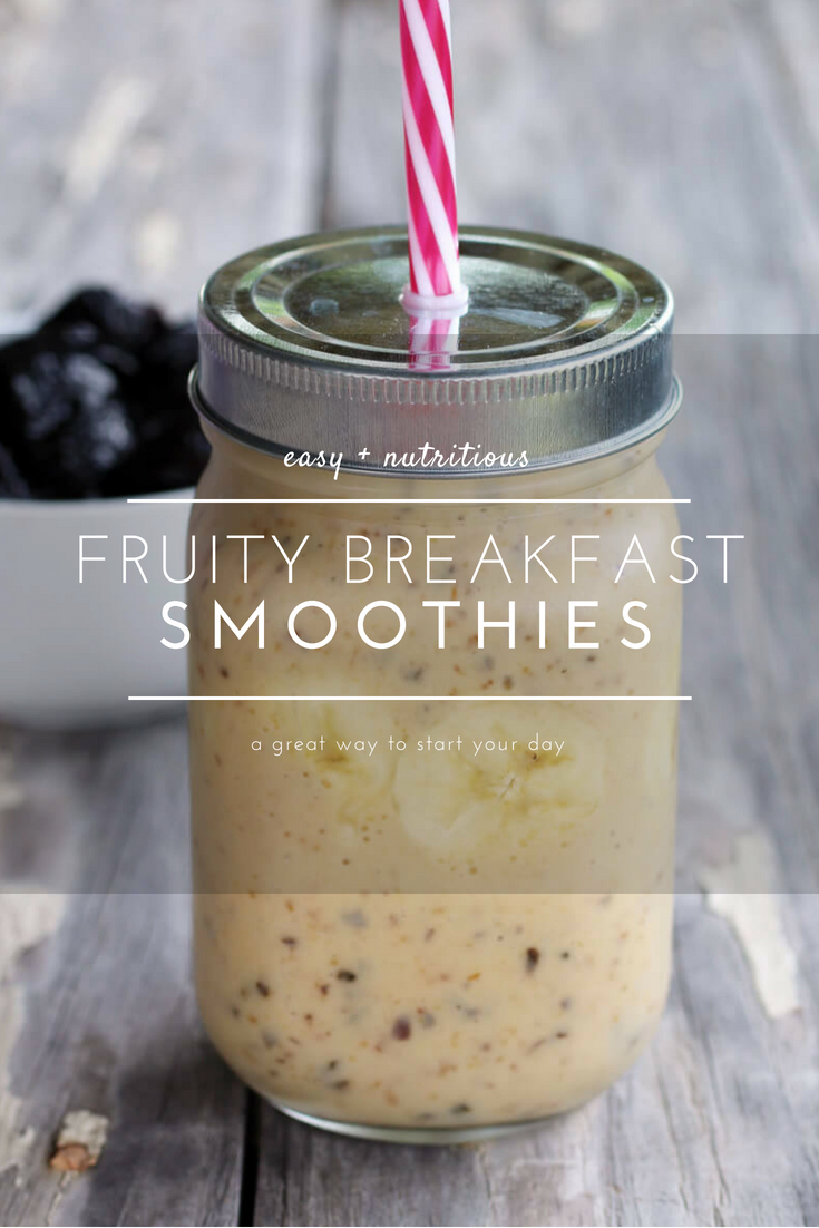 TWO yummy breakfast smoothie recipes: Banana Pineapple and Mango Berry. Full of fruit and wholesome ingredients, these refreshing smoothies are a boost of morning energy.  #breakfastsmoothies #smoothierecipe
