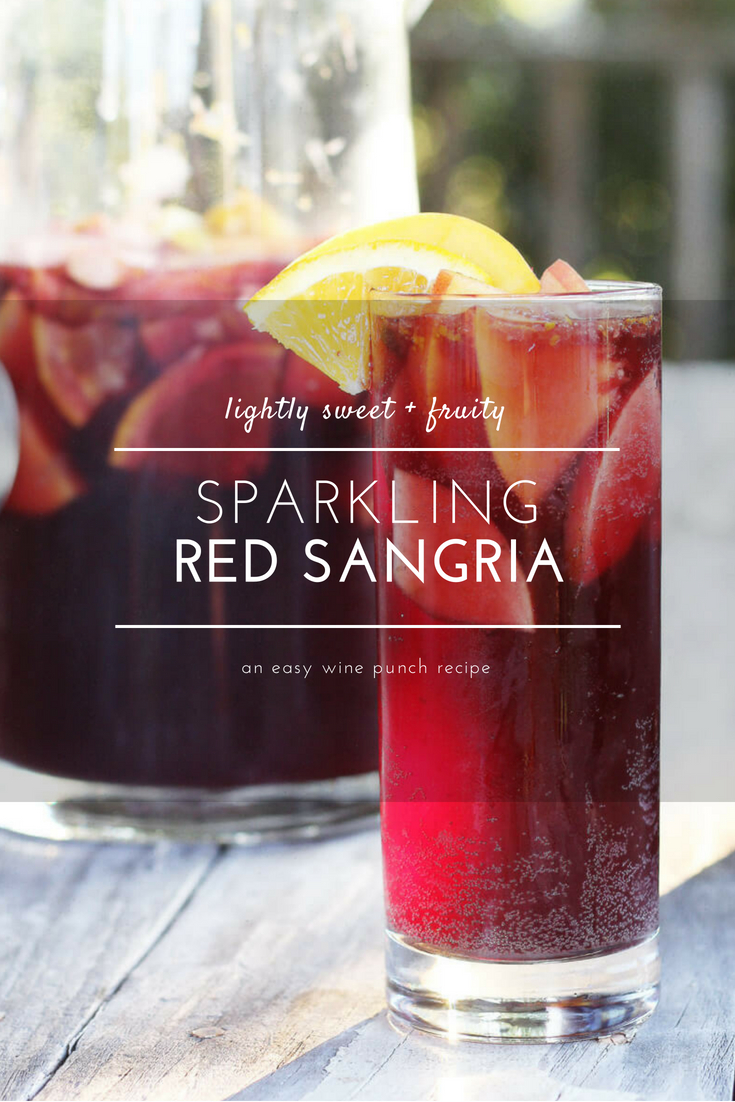 Deliciously fruity, this Sparkling Red Wine Sangria is so easy to make and even easier to relax and enjoy. Go ahead, picture yourself with a chilled pitcher of fresh fruit swirled with a citrusy, red wine. This make ahead sangria recipe is perfect for back yard cook outs and porch parties. #redwinesangria #sangriarecipe