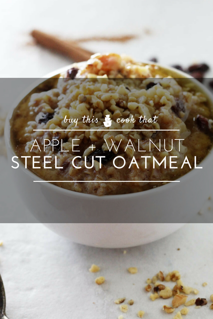 You are going to love this wholesome and satisfying recipe for Apple + Walnut Steel Cut Oatmeal. Whole grains simmered with fresh apples and cinnamon and topped with crunchy walnuts, honey and butter.  #steelcutoatmeal  #oatmeal #steel cut oats