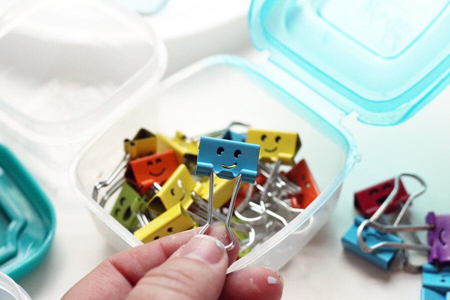 Fun smiley face binder clips