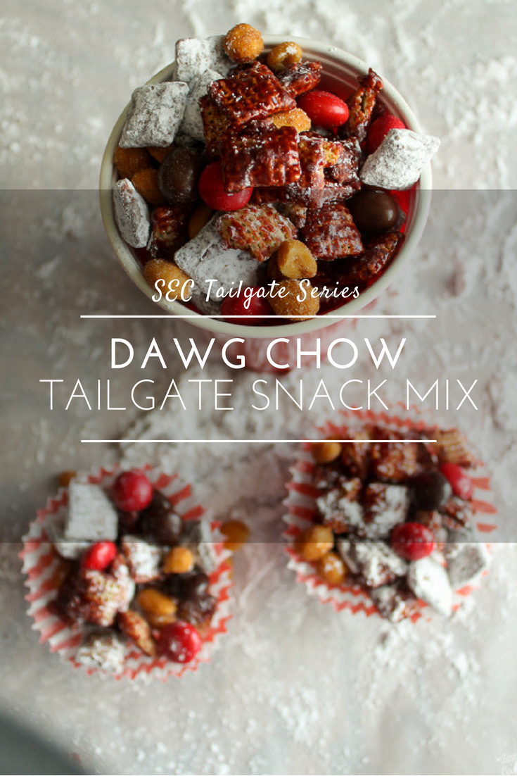 Gameday Dawg Chow Snack Mix - Georgia Tailgate  Chocolate, peanut butter, cinnamon and more make this addictive snack mix perfect for game day.   #snackmix #tailgate #georgia