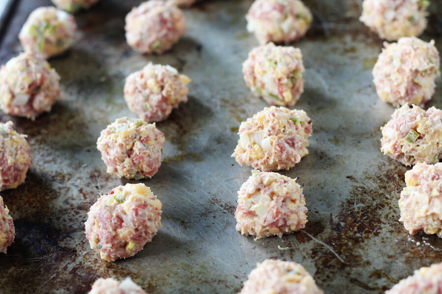 Jalapeno Cheddar Sausage Balls before baking