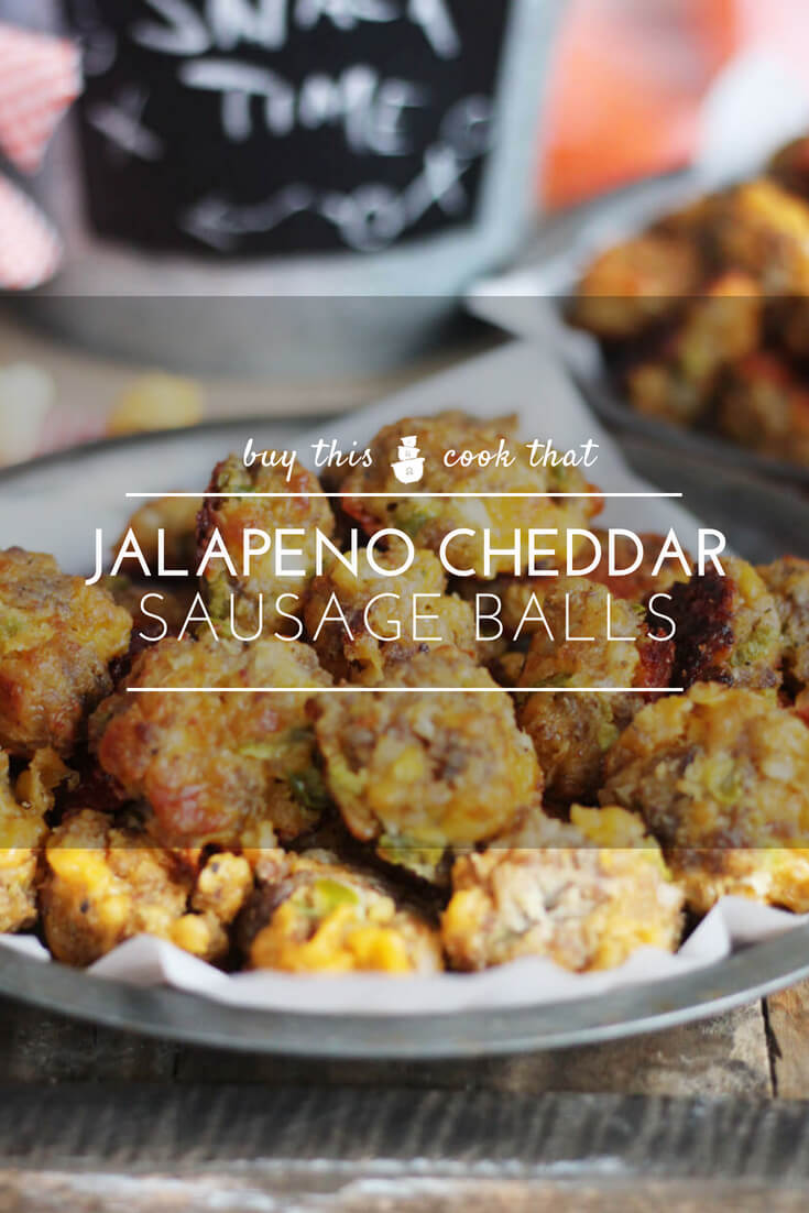 Made with spicy pickled jalapenos, savory cheddar and mild sausage, these Jalapeno Cheddar Sausage Balls will be a hit at your next party. Easy to make and so addictive, everyone will want your recipe for these. #sausageballs
