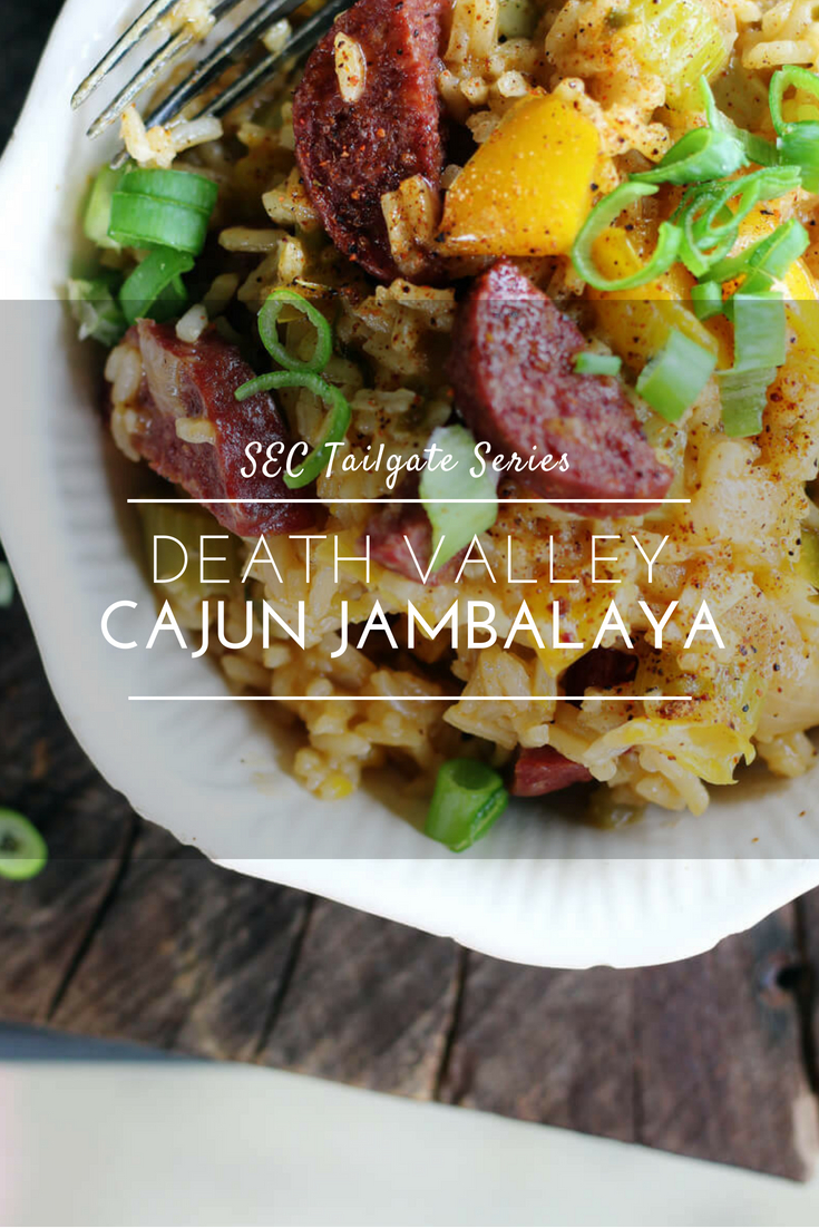 Death Valley Cajun Jambalaya // LSU Tailgate // Buy This Cook ThatKick off your gameday feast with this Death Valley Cajun Jambalaya. A twist on a classic fave that is worthy of any tailgate party.  #cajunjambalaya #jambalaya #tailgate #LSU