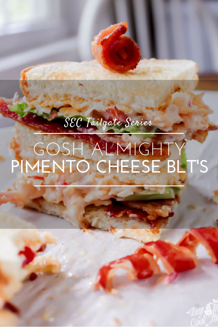 Gosh Almighty Pimento Cheese BLT's | Ole Miss TailgateSavory pimento cheese on toasted bread, topped with fresh lettuce, sliced red tomato, and crisp bacon. Talk about a game winning recipe! #pimentocheese #pimentocheeseBLT #tailgate #sandwich