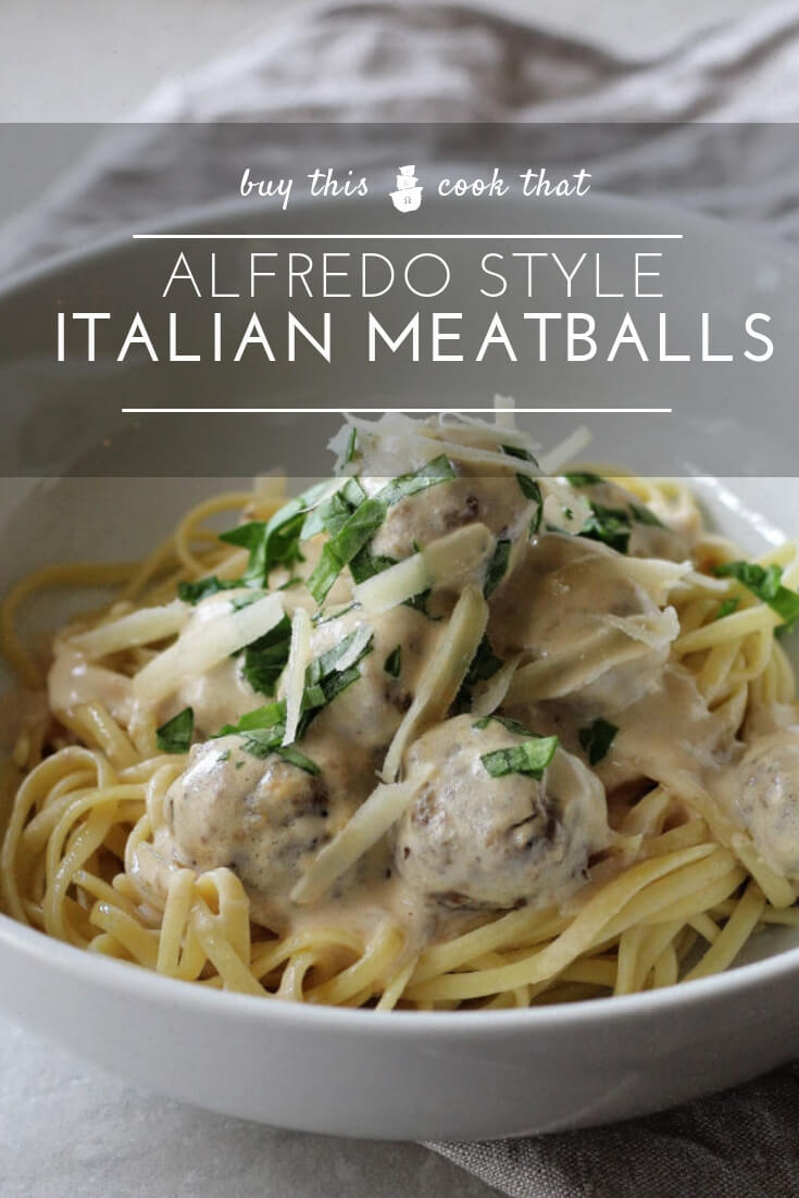 Alfredo Style Italian Meatballs | Buy This Cook ThatLooking for dinner inspiration? Try our main pasta course of Alfredo Style Italian Meatballs. Homemade tender Italian meatballs slow-simmered in a creamy, cheesy alfredo sauce. Serve over hot pasta or vegetables for a dinner recipe your family will love.  #Italianmeatballs #alfredo
