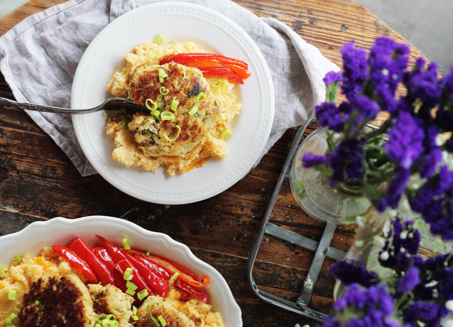 Baked Cheddar Cheese Grits Recipe with Crab Cakes | Buy This Cook That