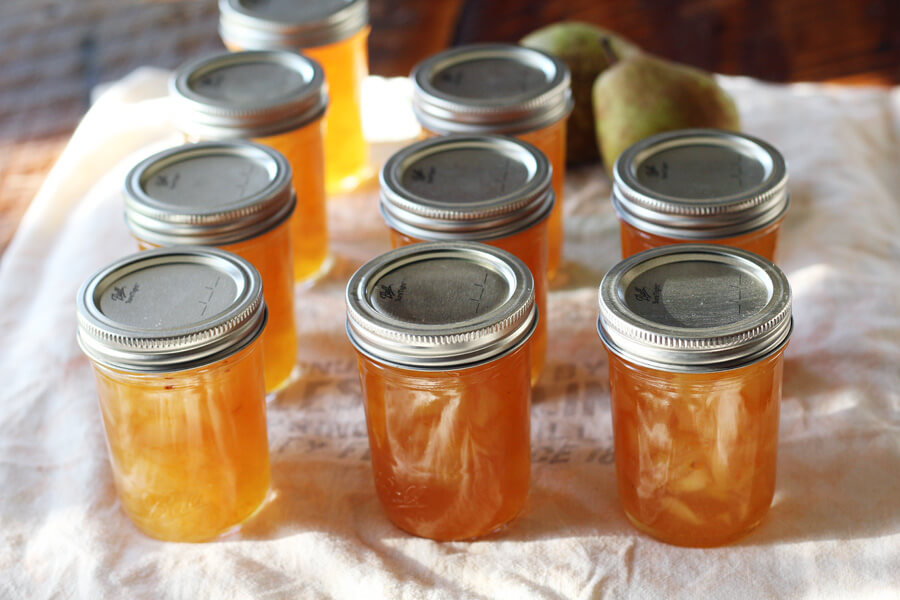 Golden jars of Citrus + Ginger Pear Preserves