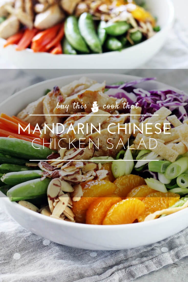 Full of wow-flavor and crunch, this Mandarin Chinese Chicken Salad is loaded with healthy veggies, marinated chicken and topped with homemage ginger dressing.  #chickensalad #mandarinchicken