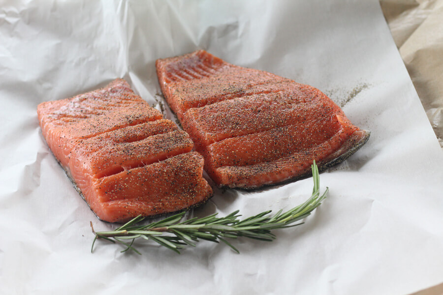 fresh wild king salmon steaks, seasoned with salt and pepper