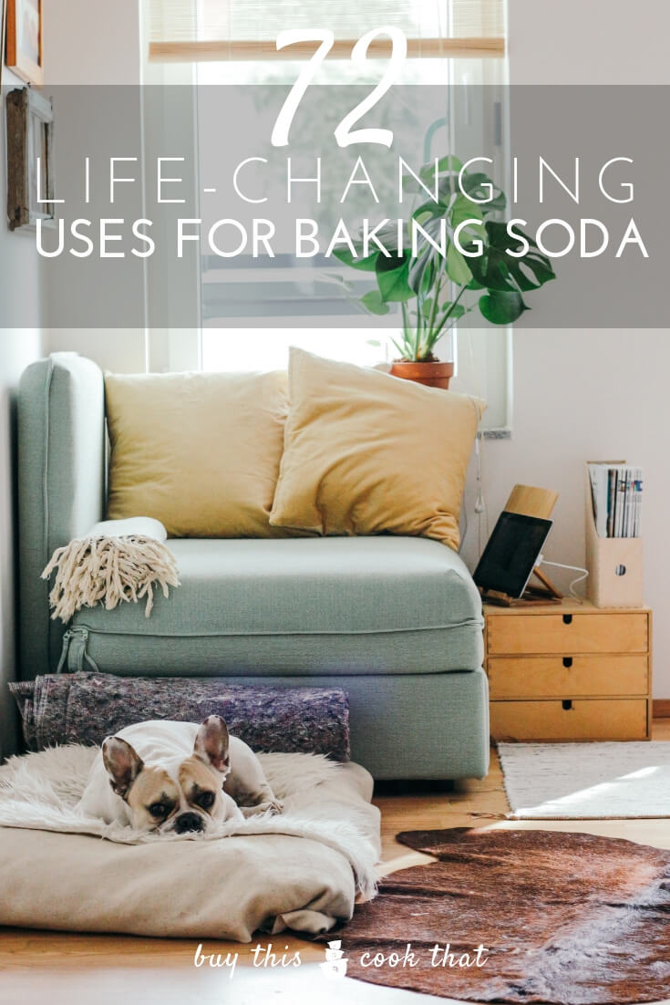72 Life Changing Uses for Baking Soda | Buy This Cook ThatBaking soda is a true workhorse around the home. This affordable and natural product can be used for so many things. From cleaning your kitchen to soaking in the tub to freshening your pet, baking soda can do it all.How many of these tips have you tried?  #bakingsoda #usesforbakingsoda