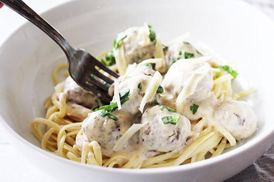 Alfredo Style Italian Meatballs | Buy This Cook That