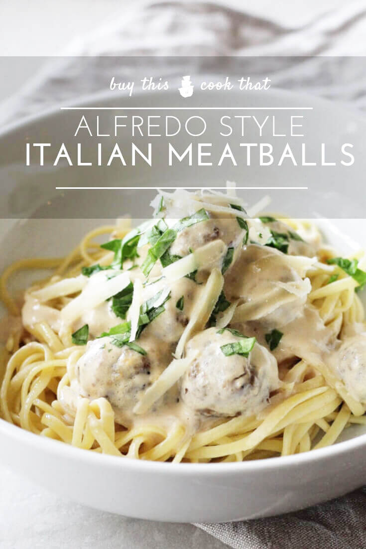 Alfredo Style Italian Meatballs   Buy This Cook ThatLooking for dinner inspiration? Try our main pasta course of Alfredo Style Italian Meatballs. Homemade tender Italian meatballs slow-simmered in a creamy, cheesy alfredo sauce. Serve over hot pasta or vegetables for a dinner recipe your family will love.  #Italianmeatballs #alfredo
