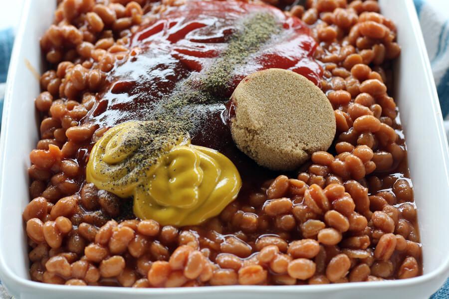 Ingredients and seasonings in baked beans.