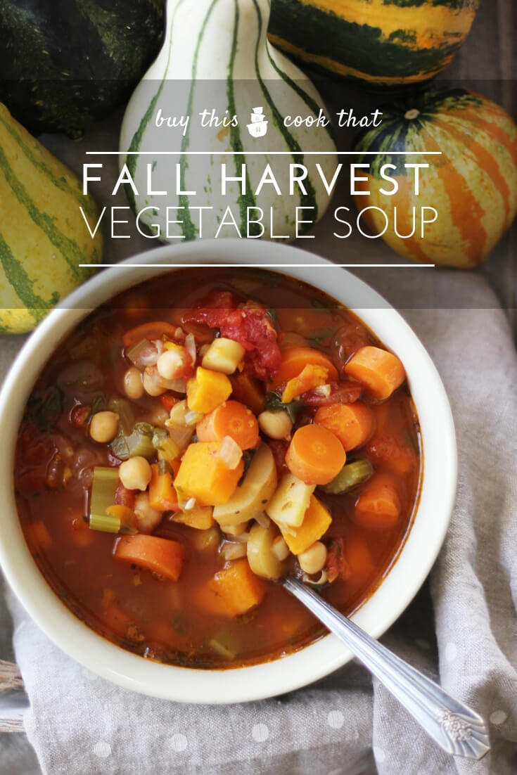 Fall Harvest Homemade Vegetable Soup   Buy This Cook ThatSavor the flavor of fall vegetables in a hearty homemade vegetable soup. Made with celery, sweet potatoes, parsnips, carrots, tomatoes and more, this is a filling and savory soup that the entire family will enjoy.  #homemadevegetablesoup  #vegetablesoup #souprecipe