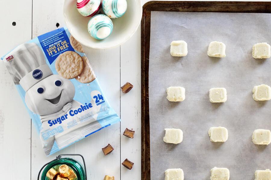 preparing to make snowman Christmas cookies