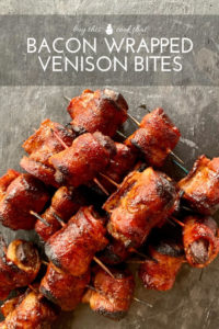 Delicious + meaty, Bacon Wrapped Venison Bites are sure to please at your next gathering. Plus get our easy marinade to make this savory appetizer.