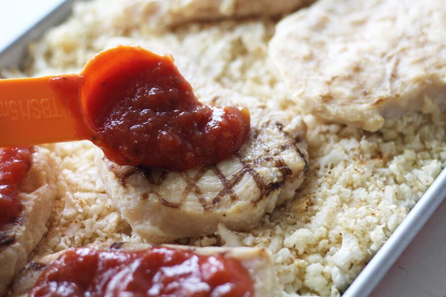 Sheet Pan Salsa Chicken + Cauliflower Rice
