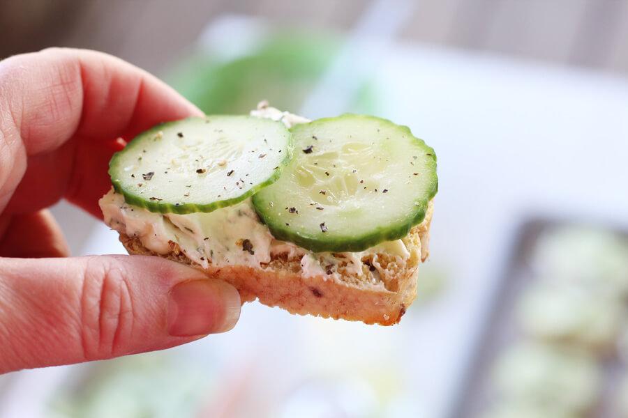 Feta Dill Cucumber Crostini Appetizer Recipe